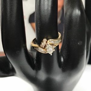 14K ITALY SOLID GOLD 2 PC RING WITH STONES